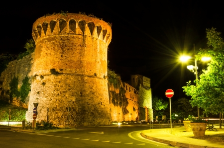 nightview: Night at San Francisco Bastion near San Giovanny entrance in San Gimignano, Tuscany landmark of Italy