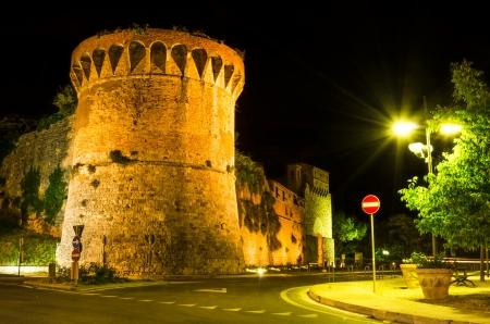nightview: Night at San Francisco Bastion near San Giovanny entrance in San Gimignano, Tuscany landmark of Italy