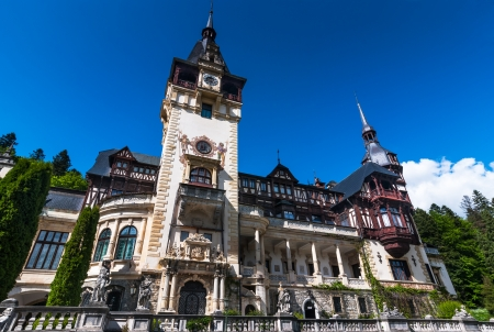 Peles Castle, built by King Carol I as summer residence, in Gothic style with german Neo-Renaissance facade, after 1873. Sinaia in Carpathian Mountains, Romania