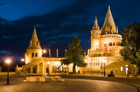 nightshot: Fishermen Bastion with conical towers, built in Neo-Romanesque, at twilight hour, Budapest, Hungary