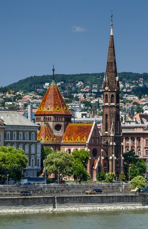 focal point: One of Budapest's more unusual religious buildings, the Calvinist Church was built with roof covered with colourful ceramic tiles  Focal point in the panorama of Buda