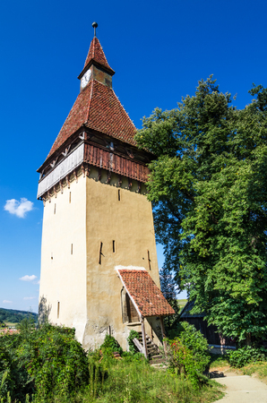 biertan: Medieval tower of Biertan fortified church in Transylvania, one of saxon landmarks of Romania