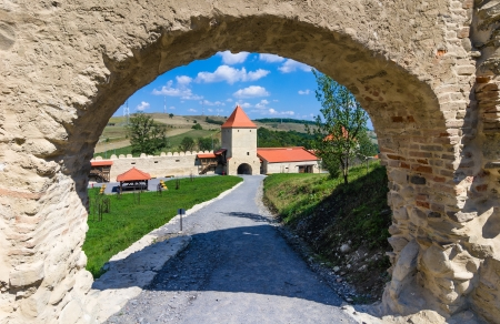 fortified: Inside the stonewalled fortress of Rupea, famous place of Transylvania, Romania. The fortress was built in 14th century by saxon peasants.