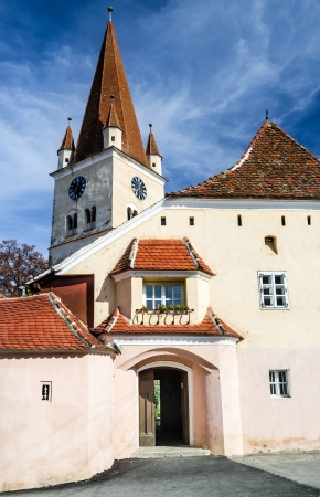 fortified: Cisnadie, Romania  Fortified church in Transylvania, with medieval tower architecture