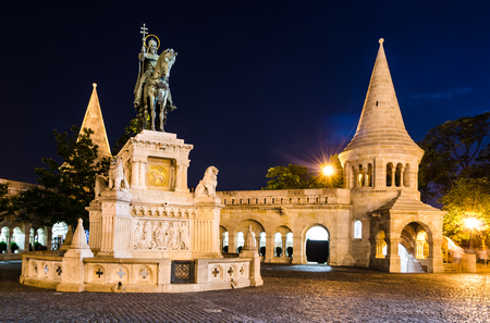 schulek: Equestrian statue and monument of Saint Stephen, erected in 1906 by architect Frigyes Schulek in Budapest, Hungary