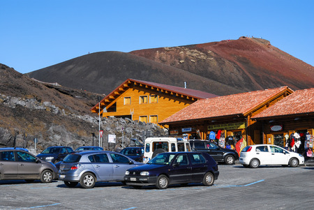 reachable: ETNA VOLCANO - OCTOBER 08: Image with Sapienza Refuge 08th, 2009, Sicily. Sapienza Refuge is the only one reachable by public transportations, to Mount Etna (3323 m), highest volcano on Europe.