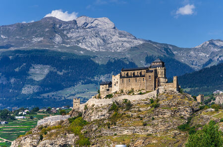 valais: Sion, Switzerland. Notre-Dame de Valere, fortified church in canton of Valais, built in 12th century. Stock Photo