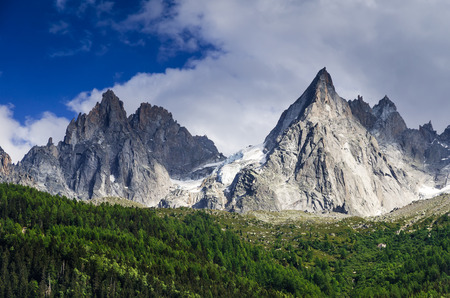 outdoor scenery: Alps Mountains, France. Outdoor scenery in Chamonis, with Aiguille de Midi ridge (3845 m)