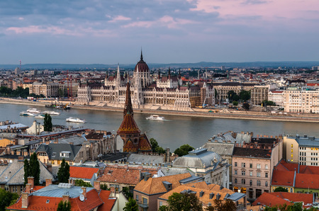 central europe: Budapest, Hungary. Cityscape with Danube River and Parliament building, Orszaghaz. Central Europe. Stock Photo