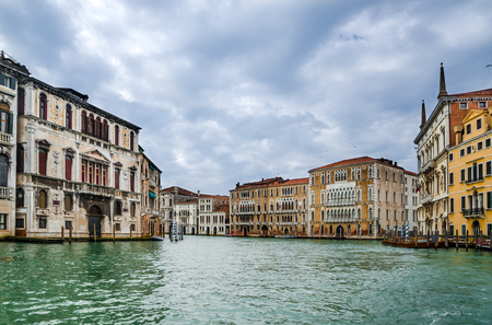 Venice, Italy. Grand Canal or Canal Grande,  orms one of the major water-traffic corridors in the city. Landmark of Venice laguna. Stock Photo - 26655207