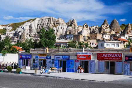 bus station: GOREME, CAPPADOCIA, TURKEY - 9 JUNE: Bus station of Goreme town on 9th June 2009, Cappadocia, known for fairy chimney rock formations.