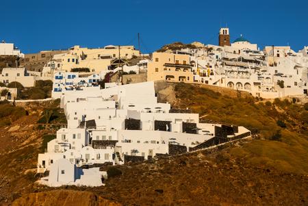 thira: Greek Islands. Thira, Santorini, landmark of Aegean Sea in Greece.