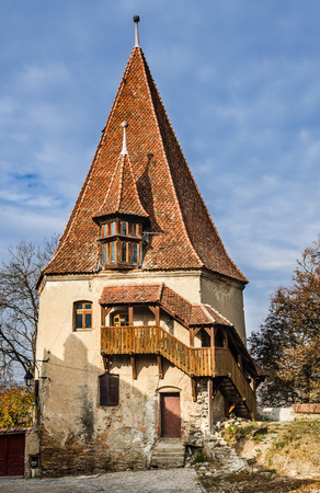 Transylvania, Romania. Baroque architecture Shoemaker tower in medieval walled city of Sighisoara, rebuilt in 1681 Stock Photo