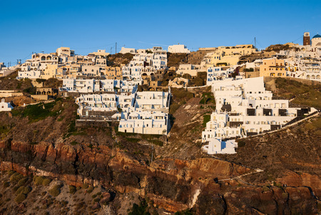 thira: Greek Islands. Thira, Santorini, landmark of Aegean Sea in Greece.