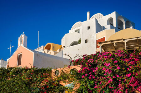thira: Santorini, Greece. Urban scenery with Oia city in Thira, Greek Islands in Aegean Sea, greek landmark.