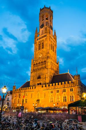 belfort: Belgium. Markt is dominated by the Belfry or Belfort octagonal belltower with 83 m built in 13th century. Bruges, West Flanders. Editorial