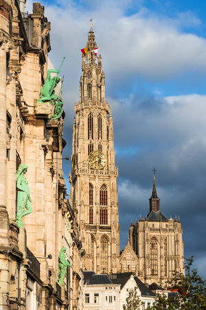 Antwerp Cathedral of Our Lady largest Gothic cathedral in Belgium and Benelux built in 1352, gothic style. Flanders. Stock Photo