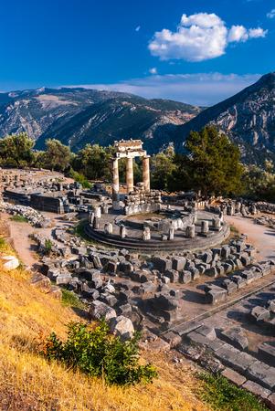 Delphi, Greece. Tholos temple, sanctuary of Athena Pronaia, constructed in 360 BC. Ancient Greek civilization.