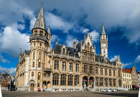 neogothic: Ghent (Gent), Belgium. Neo-Gothic architecture of Post Plaza. Old post office (Postgebouw), built in 1903 in centre of city.