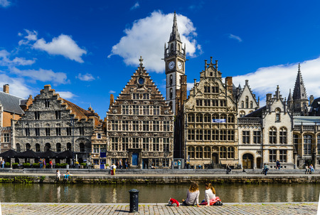 Gent, Graslei historical center of Ghent with medieval house facades, West Flanders in Belgium.