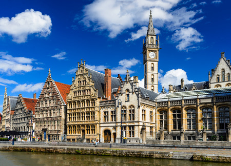 Panorama of Graslei, historical center of Gent with medieval house facades, West Flanders in Belgium. Stock Photo