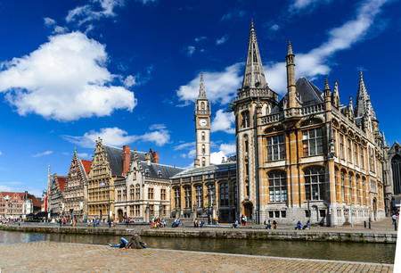 Ghent, Belgium. Image of medieval Graslei with houses facades and water canal in Gent, heritage of Flanders.