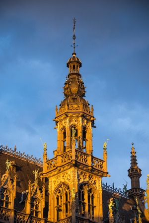 """Bruxelles: Tower of Maison du Roi, Grand Place in Bruxelles, one of Europe finest historic squares and a """"must-see"""" sight of Brussels."""