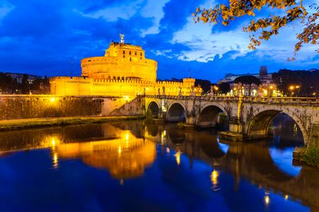 roman empire: Rome, Italy. Castel SantAngelo morning twilight imgage. Fortress built by Hadrian emperor as mausoleum in 123AD ancient Roman Empire landmark.