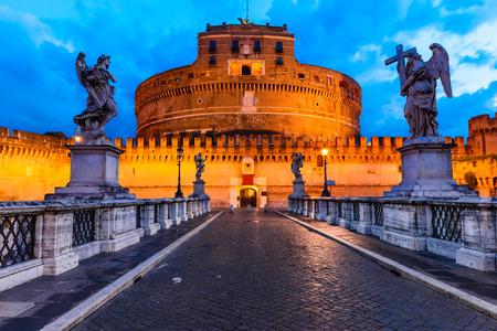 roman empire: Rome, Italy. Castle Sant Angelo twilight, built by Hadrian emperor as mausoleum in 123AD ancient Roman Empire landmark. Editorial