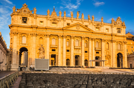 st  peter's basilica pope: Sunrise at St. Peter Basilica from Vatican, main religious Catholic Church, Holy See and Pope residence. Italy landmark. Stock Photo