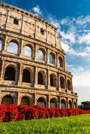 ancient rome: Colosseum, Rome, Italy. Coliseum known as Flavian Amphitheatre an elliptical amphitheatre largest in Roman Empire built in 80AD Editorial