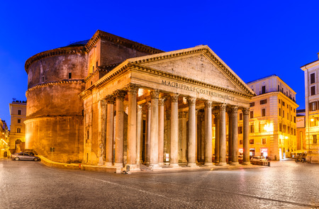 roman empire: Night image of Pantheon, ancient architecture of Rome, Italy, dating from Roman Empire civilization