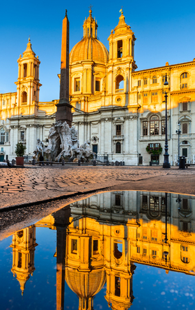 navona: Water reflection of SantAgnese Church in Piazza Navona, city square in Rome, Italy built on the site of the Stadium of Domitian. Editorial