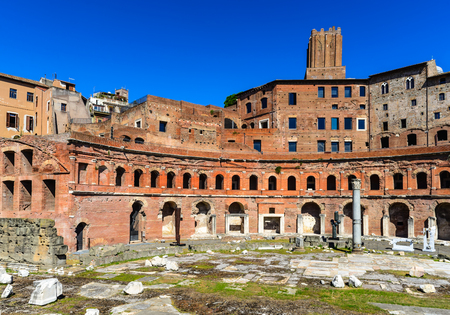 2nd century: Rome, Italy. Ruins of Trajan Markets, built in 2nd century AD by Apollodorus of Damascus in Ancient Rome