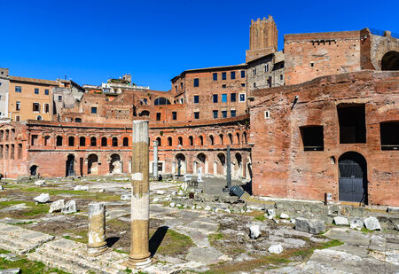 ancient rome: Rome, Italy. Ruins of Trajan Markets, built in 2nd century AD by Apollodorus of Damascus in Ancient Rome