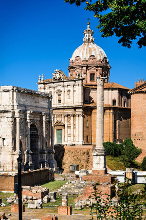 civic: ROME, ITALY - 26 SEPTEMBER AUGUST 2014. Tourists visiting Roman Forum, Ancient Rome civic center of empire capital, landmark of modern Italy and world heritage.