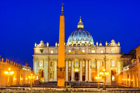 st  peter's basilica pope: Rome, Italy. Twilight image of St. Peters Basilica, built in Rennaisance medieval age, largest in the world.
