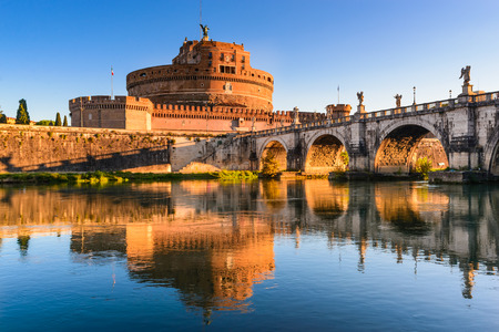 hadrian: Rome, Italy. Bridge and Castel Sant Angelo and Tiber River. Built by Hadrian emperor as mausoleum in 123AD ancient Roman Empire landmark.