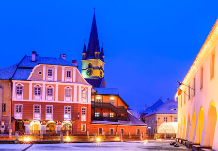 Sibiu, Transylvania. Evangelical Cathedral, dominates Liar Stock Photo