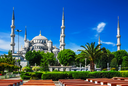 camii: Istanbul, Turkey. Sultan Ahmet Camii named Blue Mosque turkish islamic landmark with six minarets, main attraction of the city.