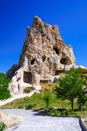 monastic sites: Goreme, Cappadocia. Most famous sight in Kapadokya region of Turkey Cappadocia. Kizlar Monastery rock carved Byzantine ancient church.