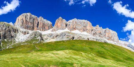sella: Piz Pordoi Val di Fassa Sella Dolomites in Italy. Sass Pordoi south face 2952 m in Gruppo del Sella Dolomites mountains in Alps Stock Photo