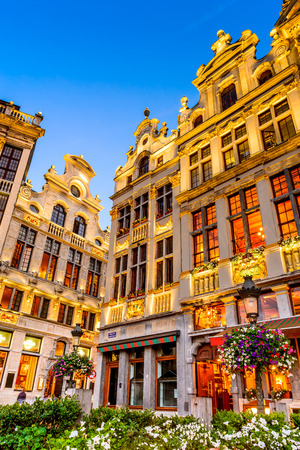 Bruxelles Belgium. Twilight image with Grand Place in Brussels Grote Markt and medieval architecture house facades.