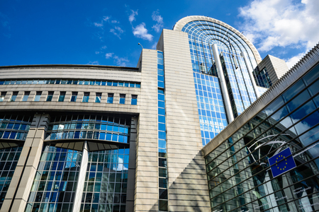 architectural architectonic: European Parliament in Brussels Belgium directly elected parliamentary institution of the European Union EU.