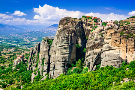 thessaly: Meteora Greece. Mountain scenery with Meteora rocks and Geat Meteor Monastery landscape place of monasteries on the rock orthodox religious greek landmark in Thessaly Stock Photo