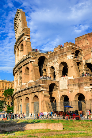ancient civilization: ROME ITALY  25 SEPTEMBER 2014: Colosseum spectacular view. Coliseum elliptical largest amphitheatre of Roman Empire ancient civilization in Rome Italy. Editorial