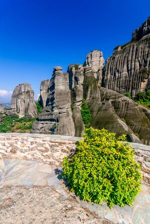thessaly: Meteora Greece. Mountain scenery with Meteora rocks landscape place of monasteries on the rock orthodox religious greek landmark in Thessaly