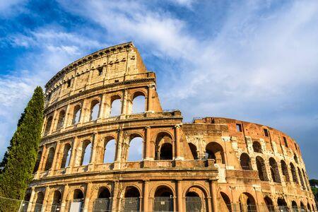 ancient civilization: Colosseum Rome Italy. Spectacular view of Coliseum elliptical largest amphitheatre of Roman Empire ancient civilization.