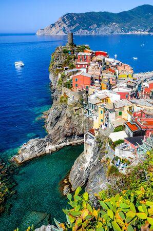 Cinque Terre Italy. Scenic view of colorful village Vernazza and Mediterranean Se coast in Liguria italian landmark.