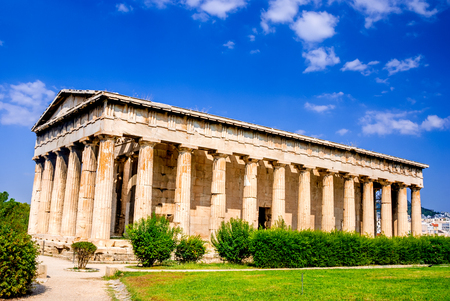 doric: Athens Greece. Temple of Hephaestus Hephaisteion Doric ruins located at the northwest side of the Agora of Athens Stock Photo